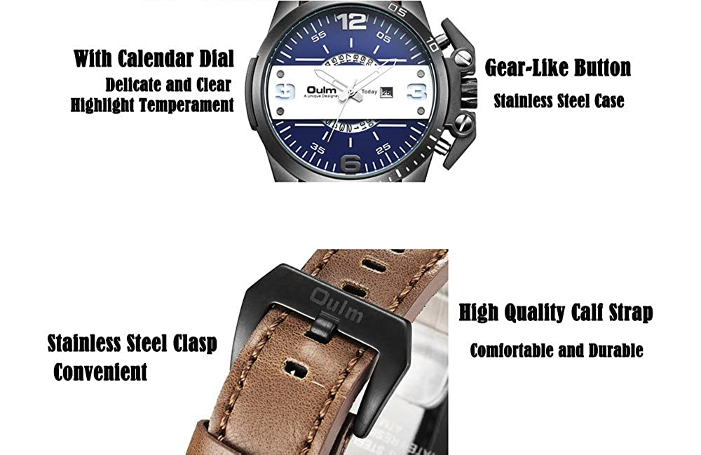 Amazon.com: Mens Watches Big Dial Japan Quartz Movement Auto Date Military Outdoor Sports Leather Strap Wrist Watch: Watches
