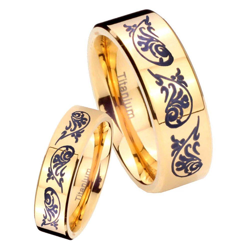 women and men Titanium Etched Design Gold IP Pipe Cut Wedding Ring Set Size 6, 10