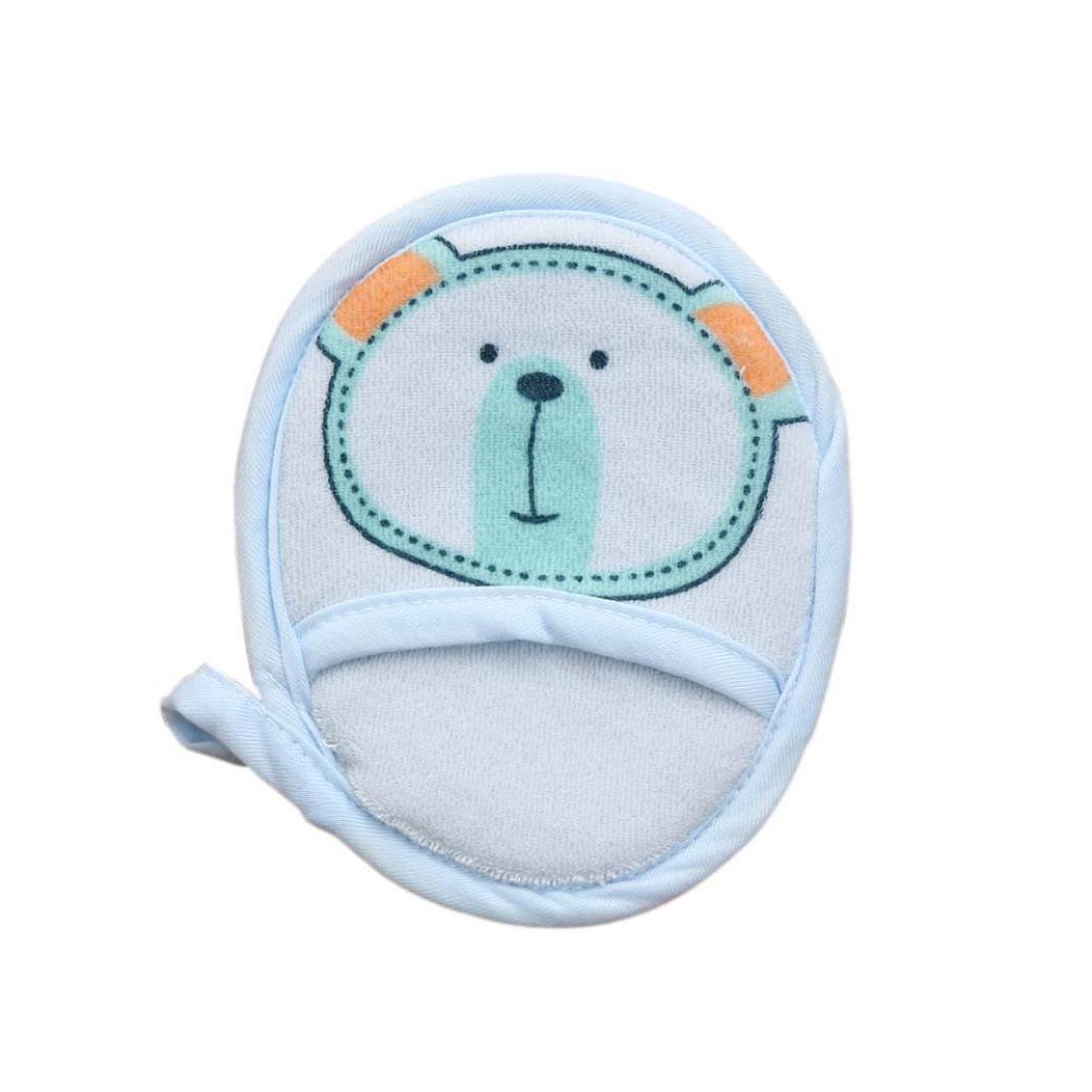 Spugna, ASHOP Neonato Bambino Ragazze Bambino Ragazzi Cartoon Doccia In Cotone Corpo Lavare Spugna Da Bagno Spazzole (Blu)