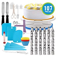 Baker's Unlimited Premium Quality Cake Turntable and Complete Cake Decorating Tools Kit (107 pieces) Affordable Cake Decorating Accessories Starter Kit from Beginner to Professional Bakers with FREE Recipe Journal