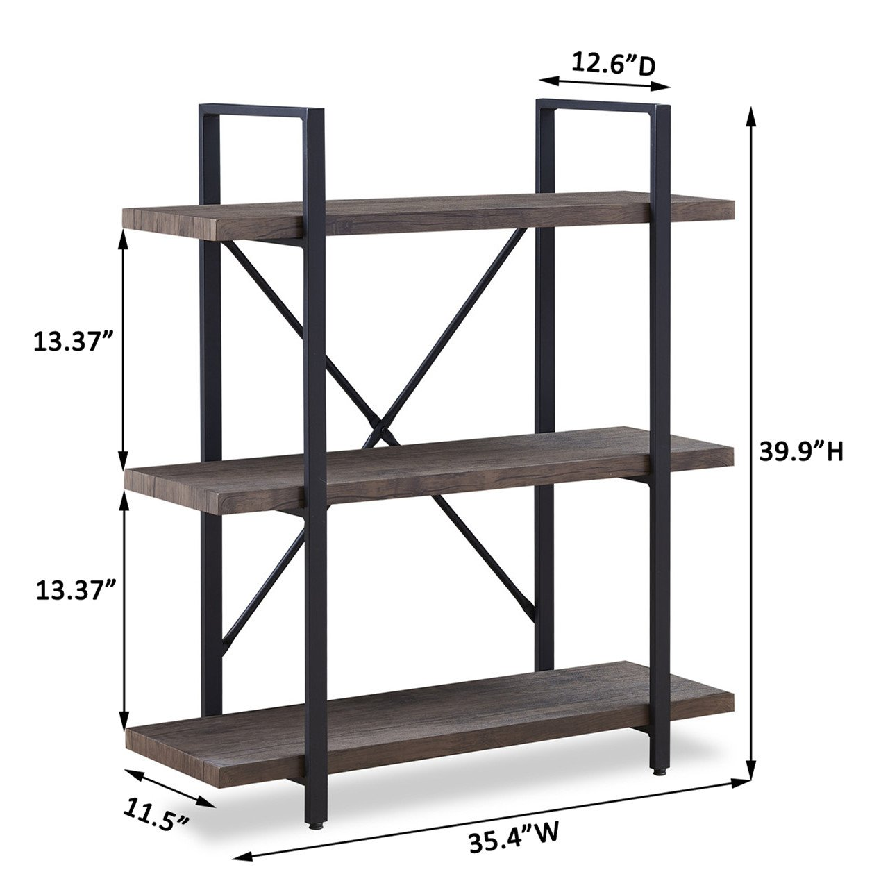 O&K Furniture 3-Shelf Industrial Bookcase and Book Shelves, Free Standing Storage Display Shelves, Brown by O&K Furniture (Image #5)