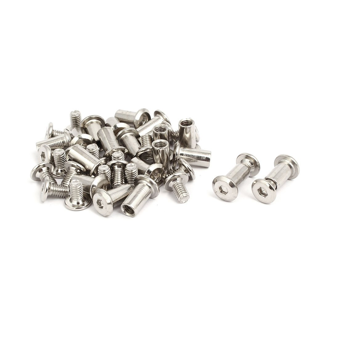 uxcell M6x10mm Male Thread Cupboard Hex Socket Head Screw Post Silver Tone 20pcs