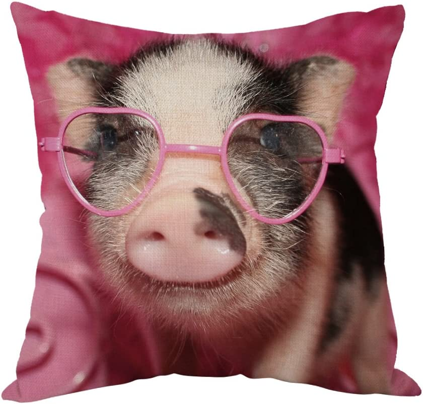 Moslion Pig Pillow,Home Decor Throw Pillow Cover Little Pig Wear Pink Sunglass Cotton Linen Cushion for Couch/Sofa/Bedroom/Livingroom/Kitchen/Car 18 x 18 inch Square Pillow case