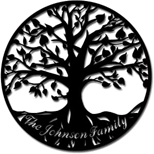 Round Hanging Sculpture The Johnson Family Tree of Life Metal Wall Art Industrial Style Garden Home Decorations 24x24inch