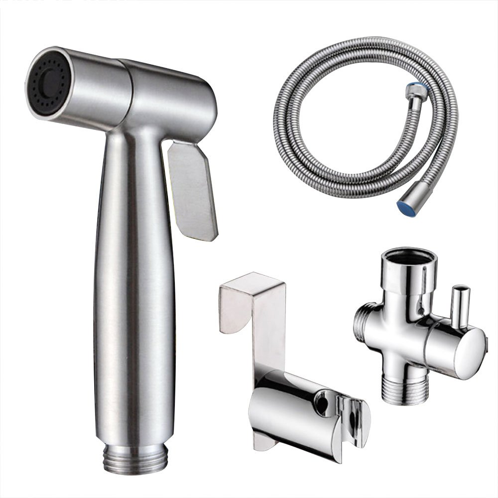 NUZAMAS Bidet Toilet Spray Set, Handheld Showers Muslim Shattaf Bidet Taps for Personal Hygiene, Toilet Cleaning, Pet Bath, 304 Stainless Steel & Installation Kit by NUZAMAS