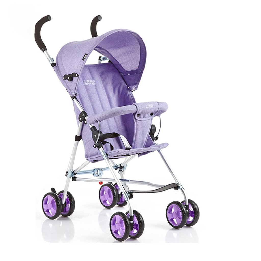 ベビーカーウルトラライトポータブルハーフフットヘッドチェアトロリー(ブルー)(ピンク)(パープル)570 * 460 * 930mm ( Color : Purple ) B07BTXPRQZ