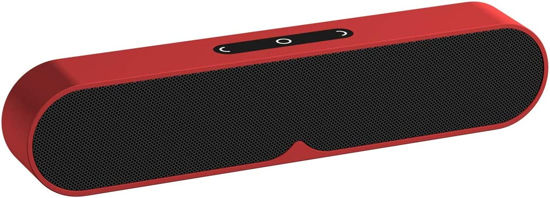N M Tech Bluetooth Speakers Portable Wireless Speaker with Subwoofer Wired AUX Mode HiFi Rich Bass for Home Phone TV Computer Outdoor Travel Beach Party Shower Bluetooth 4.2 Stereo Sound Red