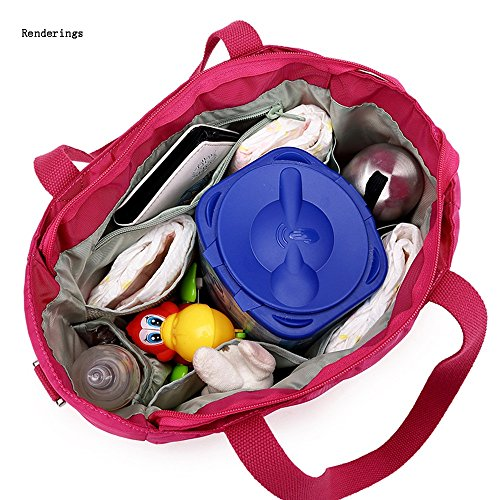 Global- Las mujeres embarazadas de poliéster impermeable de nylon de múltiples funciones de la momia bolso del paquete de la madre de gran capacidad Saliendo mochila ( Color : Rosa Roja ) Rosa Roja