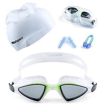 95f9fa90ae3 Mee sport Swim Goggle Set with Anti Fog UV Protection Swimming Goggles Swim  Cap and
