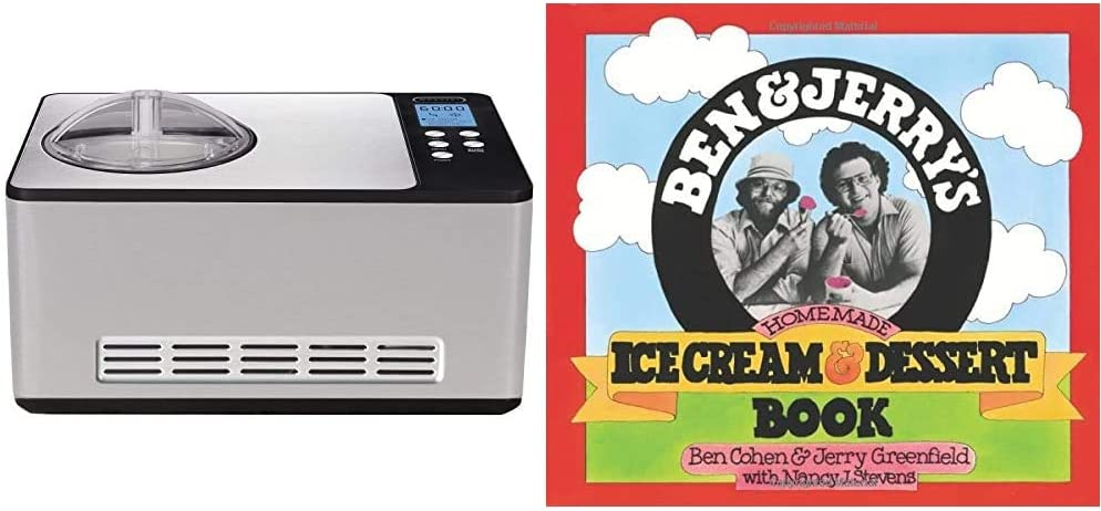Whynter Stainless Steel ICM-200LS Automatic Ice Cream Maker 2 Quart Capacity, Built-in Compressor, no pre-Freezing, LCD Digital Display, Timer, 2.1 & Ben & Jerry's Homemade Ice Cream & Dessert Book