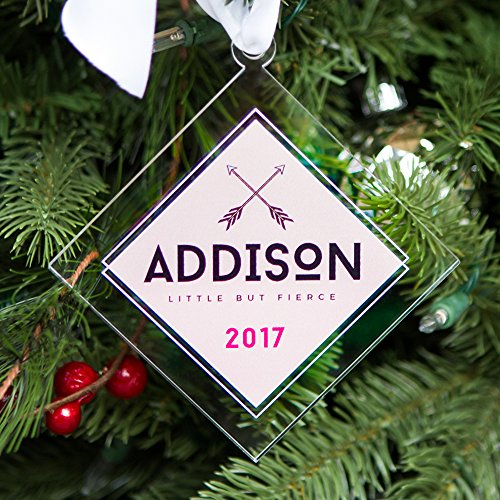Christmas Ornament Personalized Arrows Little But Fierce Girl Name Clear Acrylic Look Modern Holiday Decorations (Christmas Arrow Ornament)
