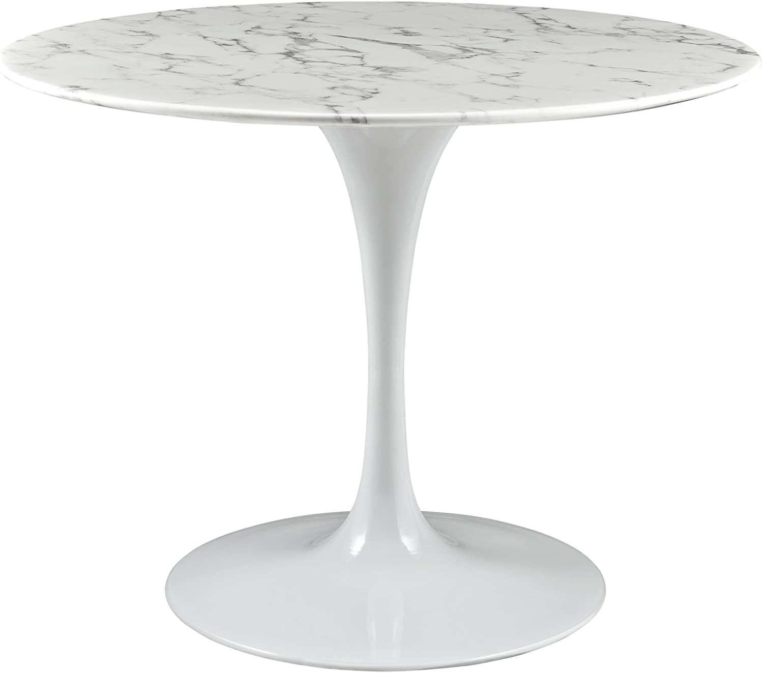 Amazon Com Modway Lippa 40 Mid Century Dining Table With Round Artificial Marble Top In White Tables