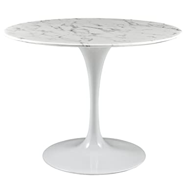 Modway Lippa 40  Artificial Marble Dining Table in White