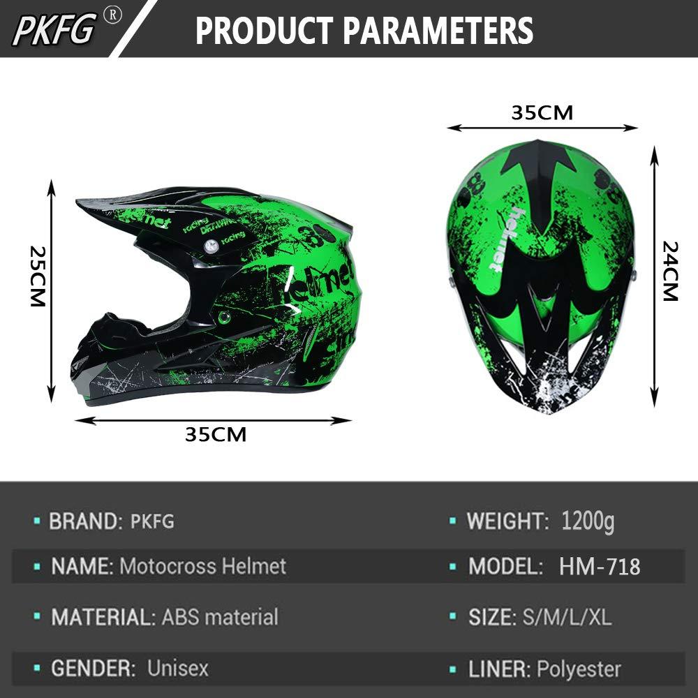 Serie HM-718 Motorradhelm Set Damen Fullface Motorrad DH Cross Offroad Enduro Mountainbike Helme mit Visier Brille Handschuhe Maske PKFG Mopedhelm Motocross Helm Herren