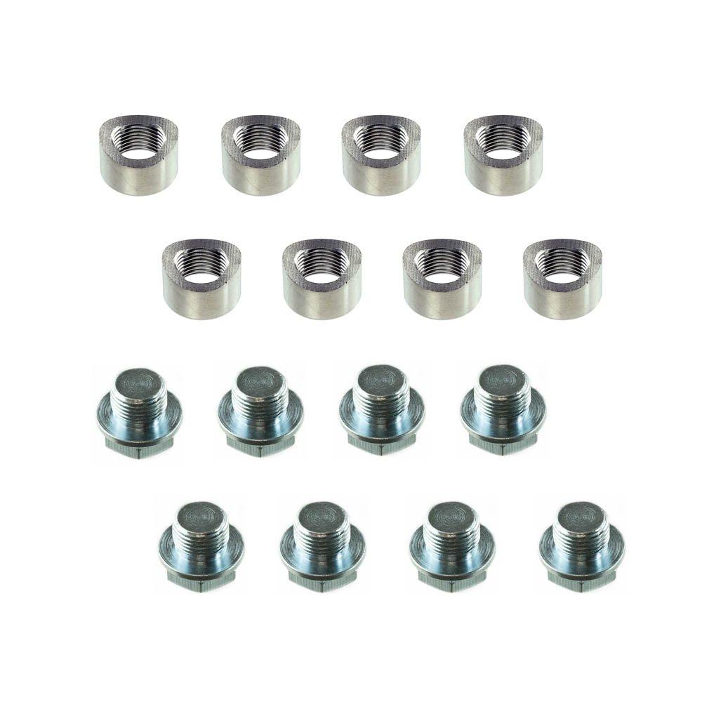Angle Cut - 1 Bung, with Plug CarXX Universal Fit M18x1.5 O2 Oxygen Sensor Mild Steel Weld Bung
