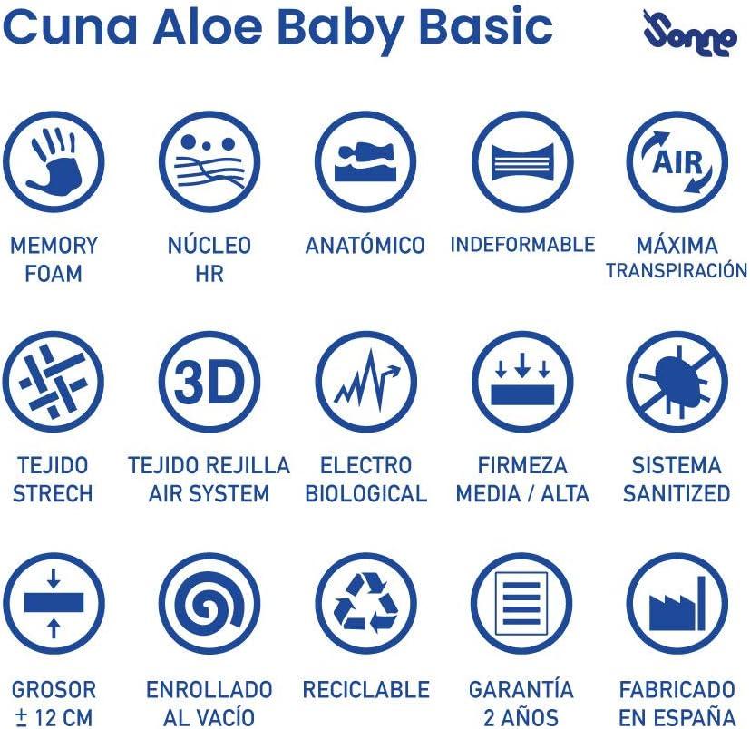 Colch/ón de Cuna HR Aloe Baby Basic de SonnoMattress 60x120x12
