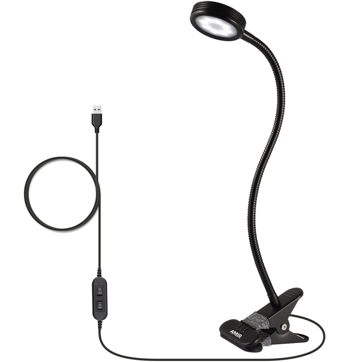 AMIR Clip on Book Light, Eye Care Reading Light, 2-Level Dimmer & 2-Mode Light Color Switchable with Flexible Arm, for Headboard, Desk, Bedstead (Need Plugged in to Work, AC Adapter Not Included)