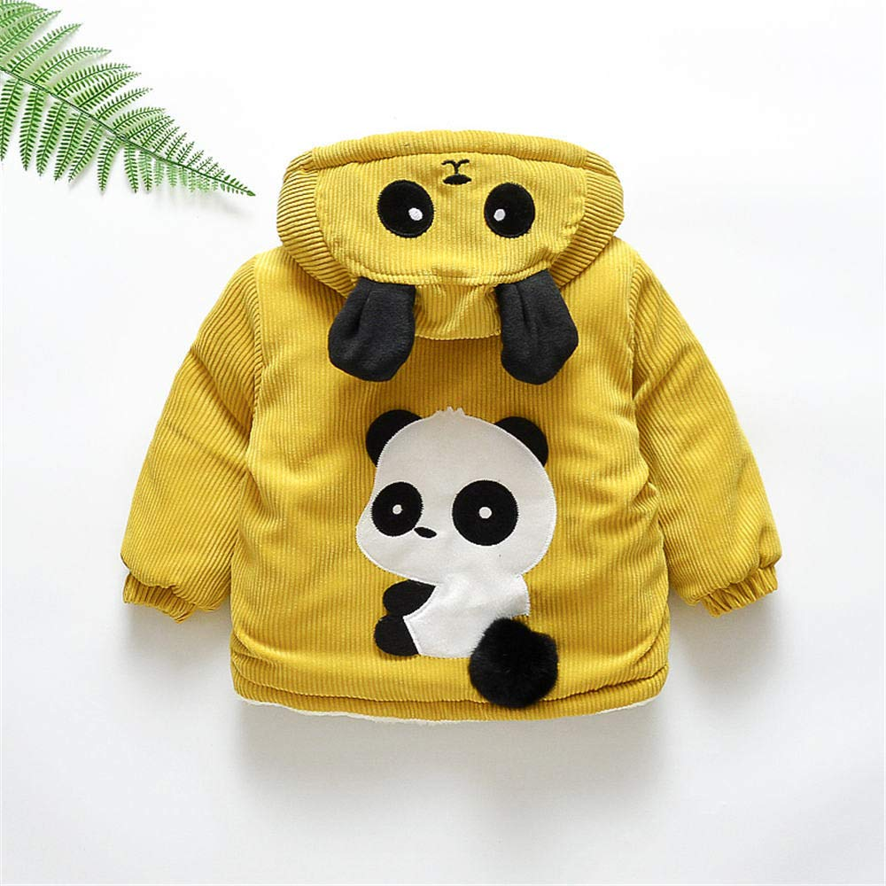 Jchen(TM) Infant Kids Little Girls Boys Cartoon Panda Winter Warm Jacket Hooded Zipper Outerwear Coat for 1-3 Y (Age: 12-18 Months, Yellow) by Jchen Baby Coat (Image #3)