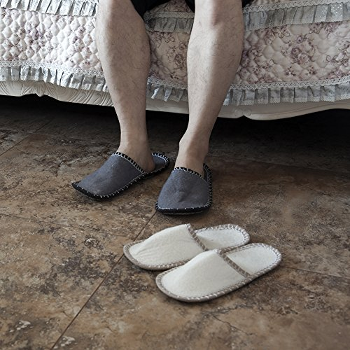 SLIPPERTREND Fleece Felt Close Toe 6 Pairs Welcome with Flowers Non Slip Indoor Family House Guest Slippers Set Grey by SLIPPERTREND (Image #7)