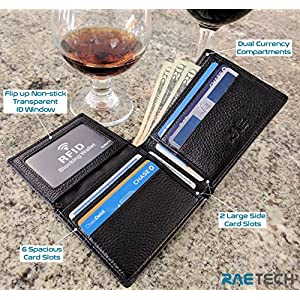 RAE RFID Wallet for Men – Genuine Full Grain Leather Flip RFID Blocking Wallet