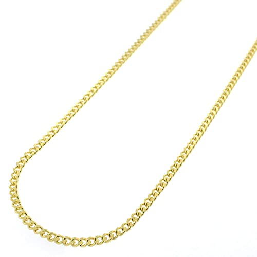 18K Gold Flashed Sterling Silver Italian 2mm Miami Cuban Curb Link Chain Necklace 18-30