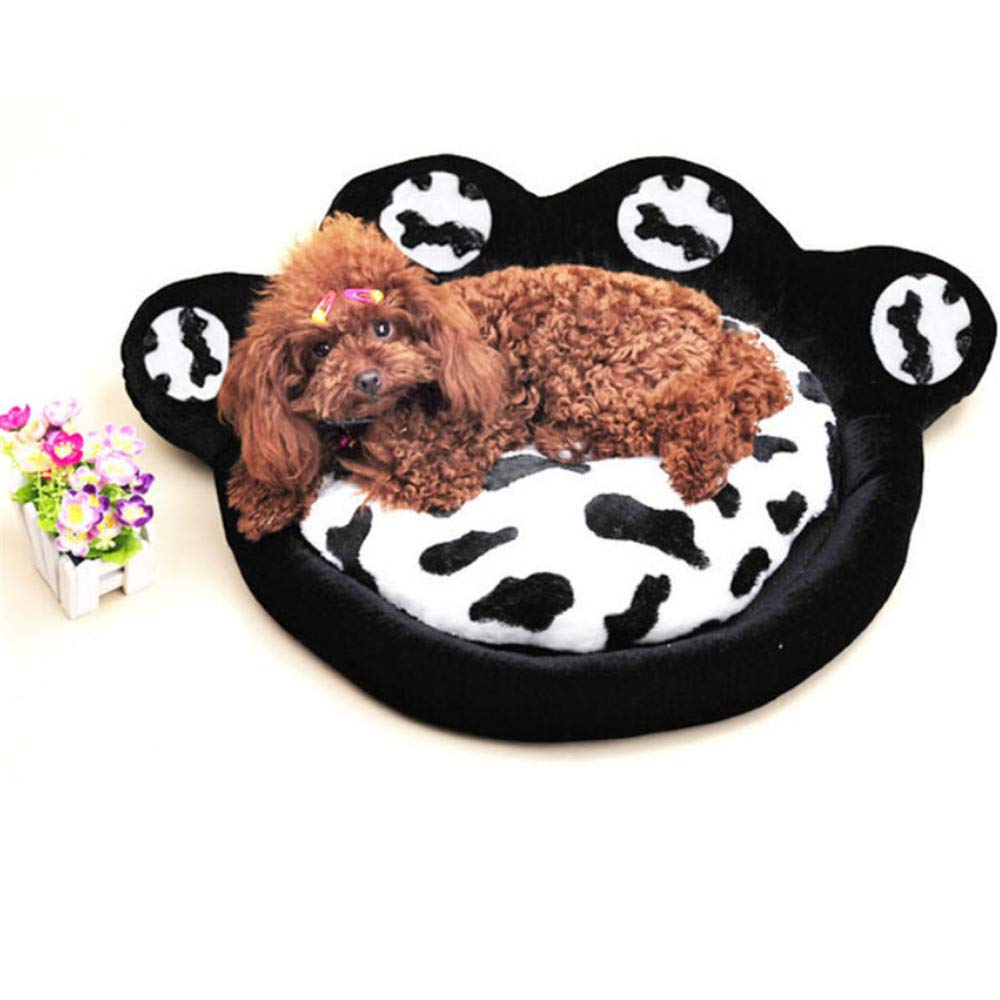 S Wuwenw Hig Quality Cute Leopard Print Dog Paw Shape Pet Bed Size Detachable Cushion Washable Cat Mat Dog Bed,S