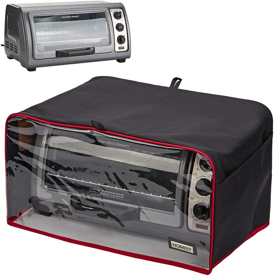 HOMEST Visible Toaster Oven Dust Cover with Accessory Pockets Compatible with Hamilton Beach 6 Slice of Toaster Oven, Black (Patent Pending)
