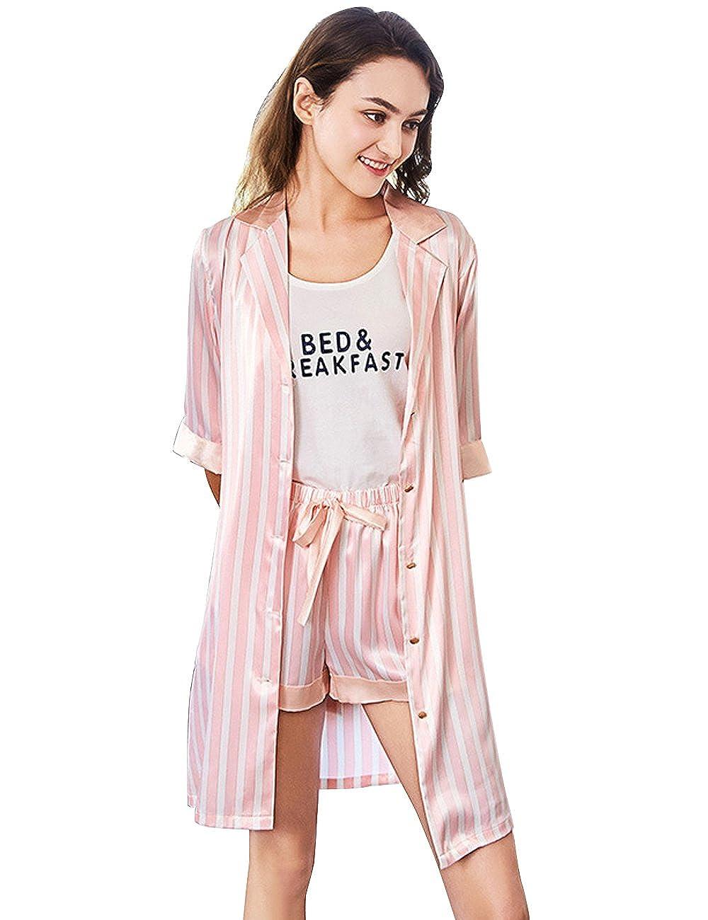 fa3872f77a911 Damen 3 4 Arm Sleepwear 3pcs Komfort Fit Top  Amazon.de  Bekleidung