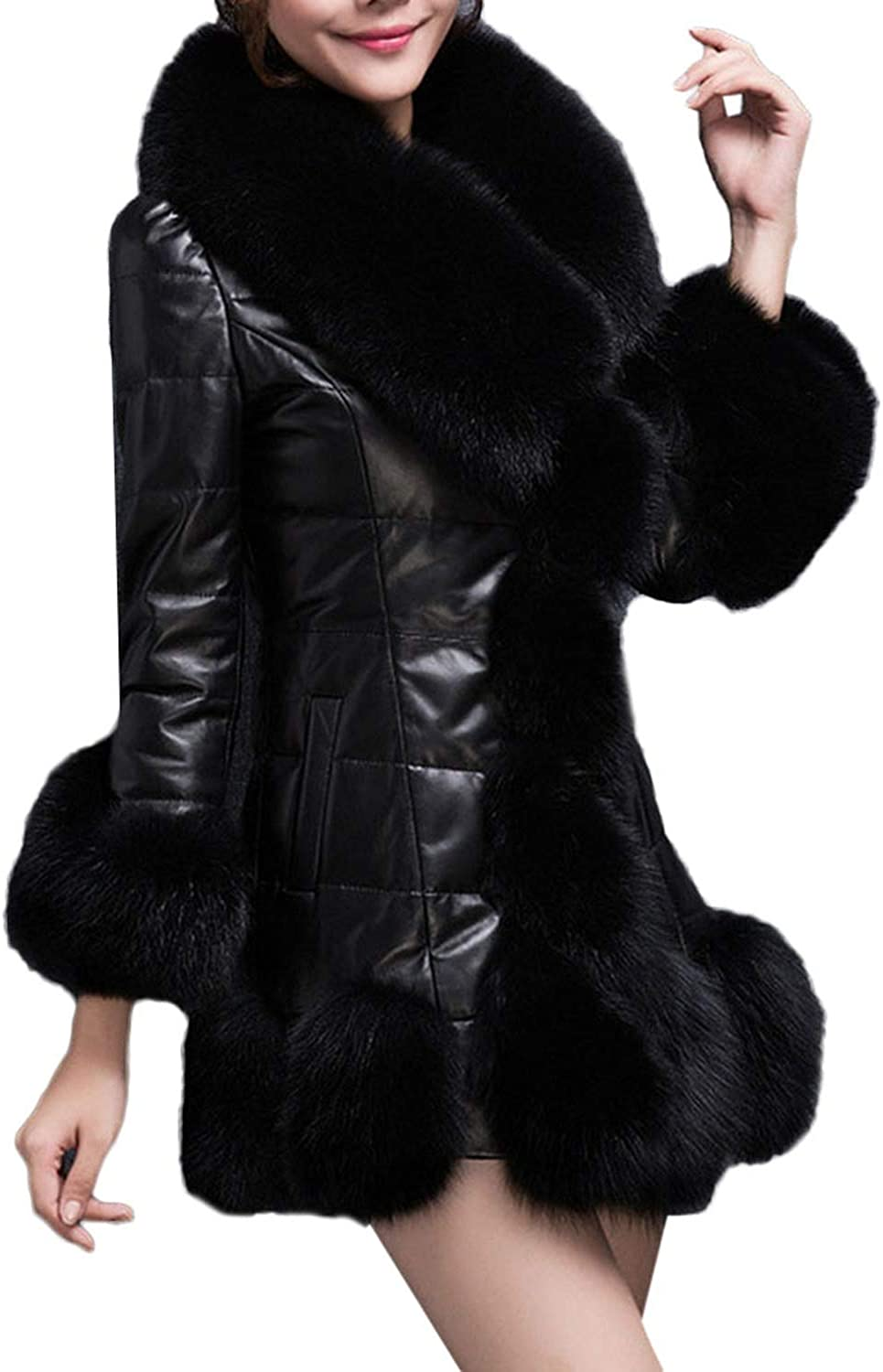 1PC Coat Women Winter Coat Faux Fur Coat Elegant Warm Long Sleeve Splice Long Fake Fur Down Jacket,PP,XXL