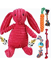 Dog Squeaky Toys Plush Dog Toy Crinkle Dog Toy No Stuffing Animals Plush Toy Dog Chew Toy with 4 Pack Rope Knots for Small-Large Dogs Squeaky Doggie Toys Puppy Toys-Rabbit