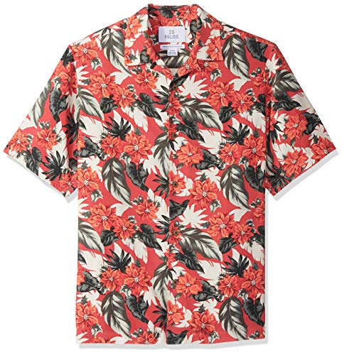 (28 Palms Men's Relaxed-Fit 100% Silk Tropical Hawaiian Shirt, Holiday Poinsettia, XX-Large)