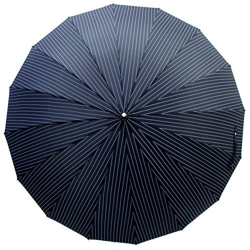 煌(kirameki)耐風傘インディゴ×ストライプ【直径108cmのジャンボサイズ/専用特注ボックス入り/選べる10カラー/デュポン社製撥水加工】