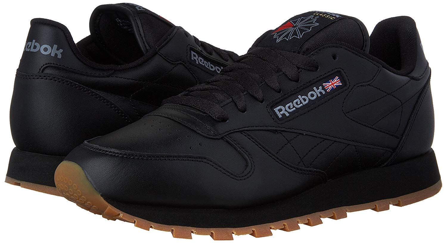 Reebok Men's Classic Leather Fashion Sneaker (47 M EU / 13 D(M) US, Black-Gum)