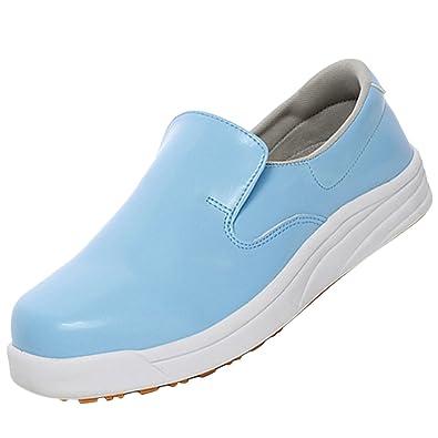 Jiyaru Womens Chef Shoes Work Shoe Anti-Slip Restaurant Cook Loafers Flats  Blue US 7.5 bf1e39455