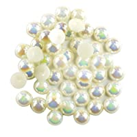 Prettyia 100xFlat Back Pearl Cabochon for Scrapbooking Card Making Garment Decoration