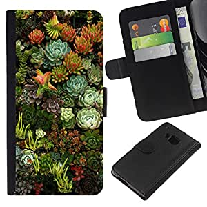 iBinBang / Flip Funda de Cuero Case Cover - Flores Naturaleza Floral Green Garden - HTC ONE M9
