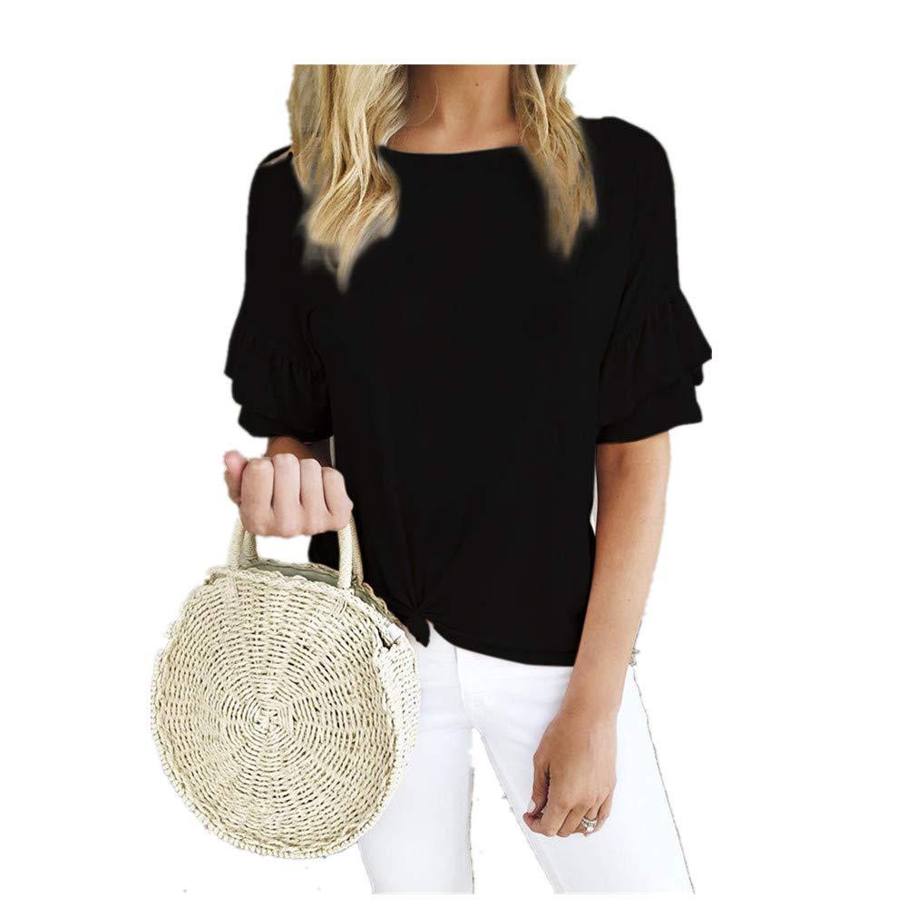 Womens Shirts Women's Round Collar Lotus Leaf Edge Short Sleeve Knotted T-Shirt Black