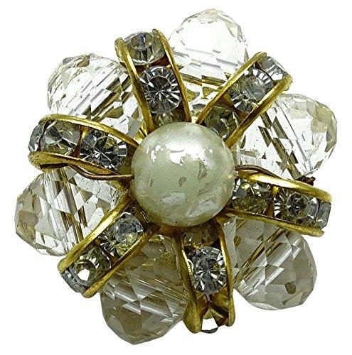 Off White Designer Floral Pattern Brass Metallic Button Sewing Material 1 Dozen