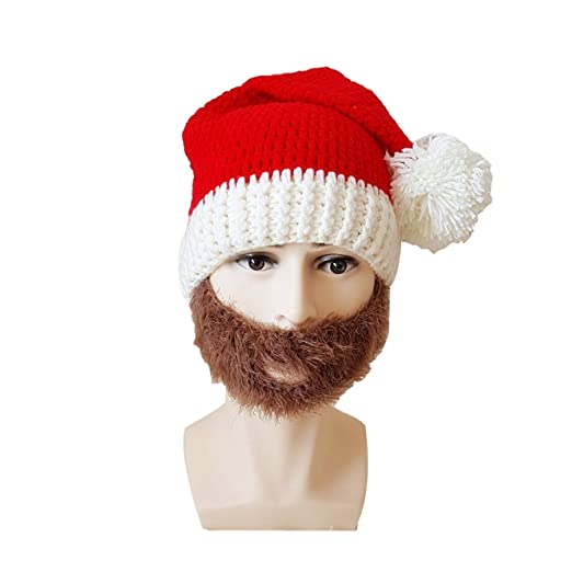 c4d4d25bae5 RVESCHZ Beard Hat Winter Warm Knitted Crochet Funny Christmas Santa Hat for  Adults at Amazon Men s Clothing store