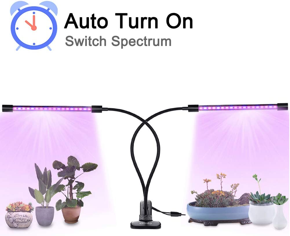 18W Plant Grow Light with Auto Turn On Function, slitinto Dual Head 36 LED 5 Dimmable Levels Grow Lamp Bulbs, 3 6 12H Timer, Spectrum Switching, Adjustable Gooseneck for Indoor Plants New Converter