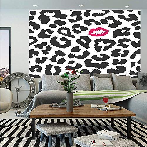 Safari Huge Photo Wall Mural,Leopard Cheetah Animal Print with Kiss Shape Lipstick Mark Dotted Trend Artwork Decorative,Self-Adhesive Large Wallpaper for Home Decor 100x144 inches,Black White Red ()