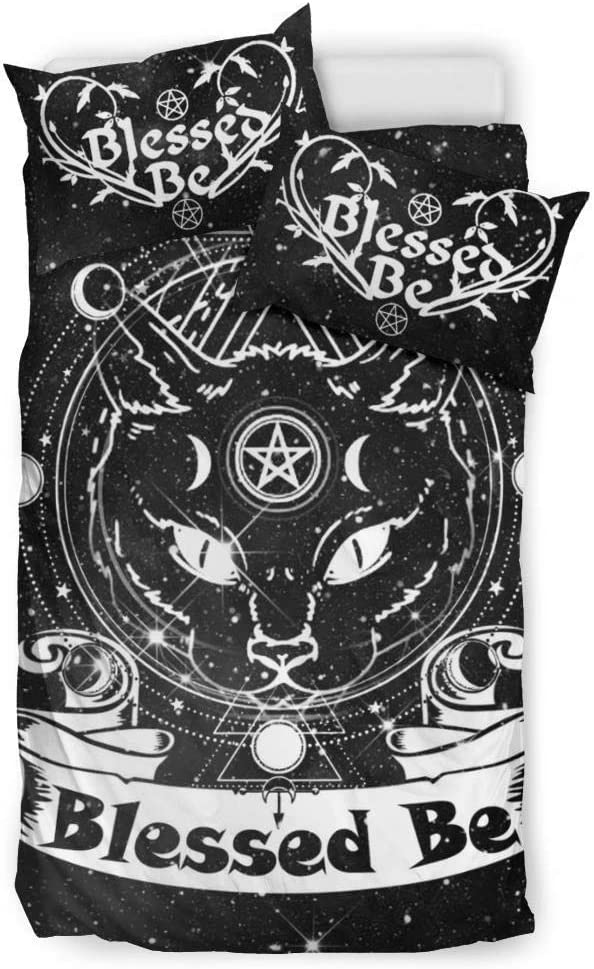 MoonChildWorld Blessed Be Black Cat Witchy Pagan Wicca Bedding Set Duvet Cover