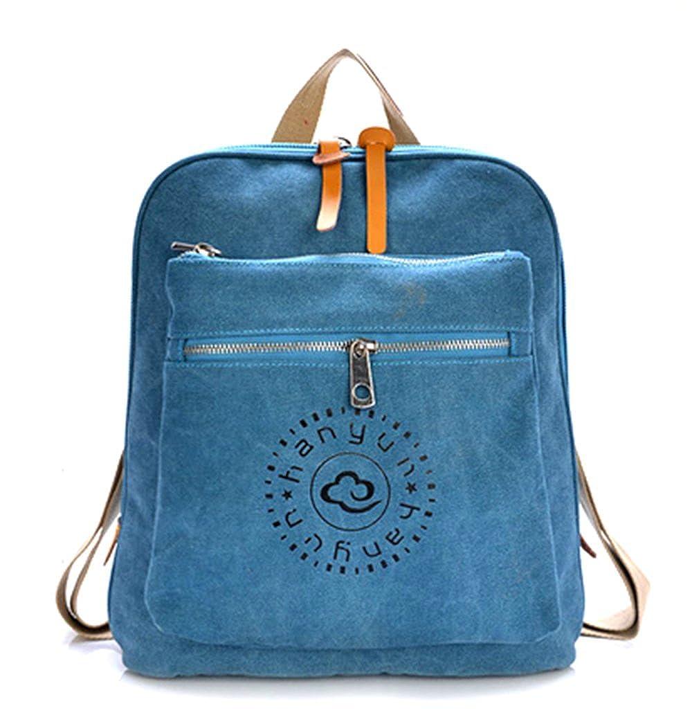 KISS GOLD レディース カジュアル キャンバス リュックサック ディパック Casual Double Layer Canvas Rucksack School Bag Daypack  ブルー B010SDXWTE