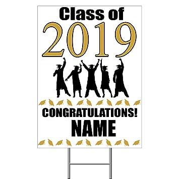 Amazon.com: Letrero de graduación de oro 2019 (cada uno ...