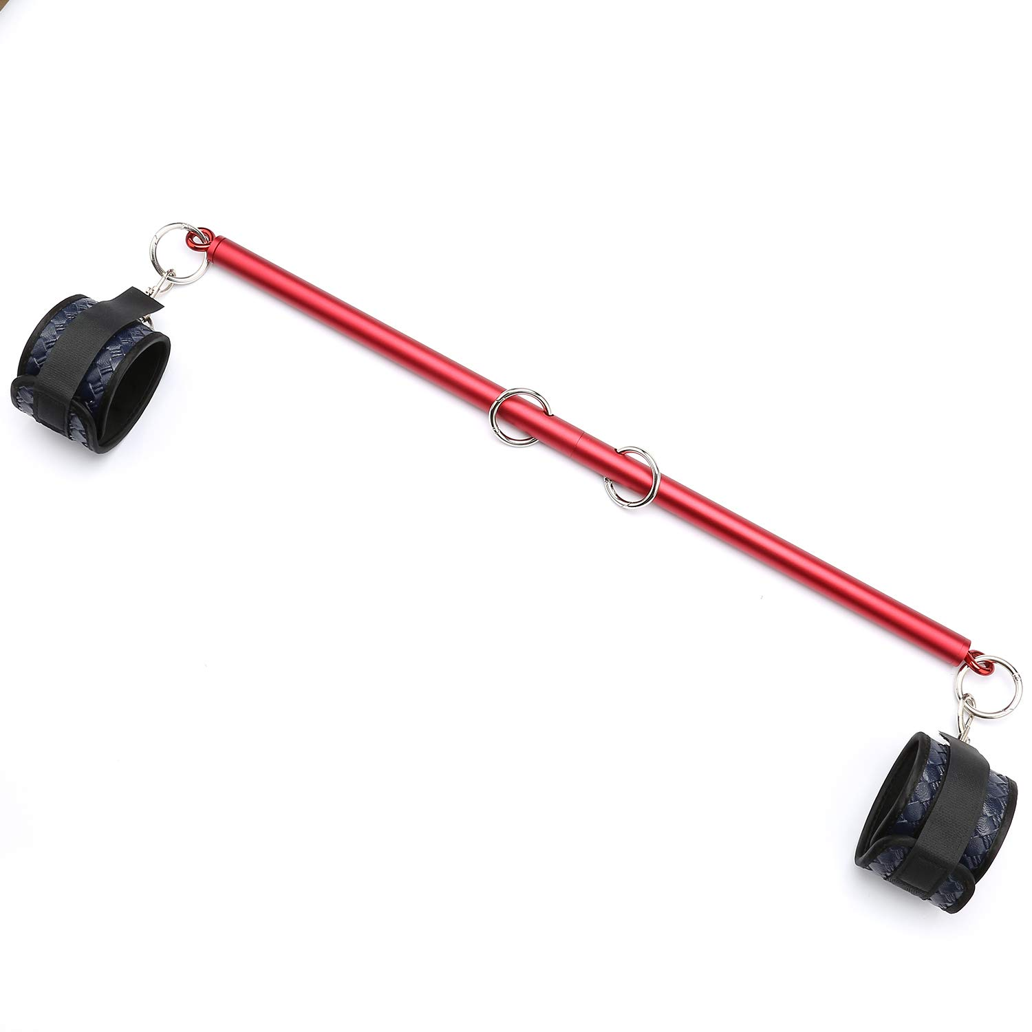 PKBQUEEN Expandable Aluminum Alloy Frosted Red Spreader Bar with Adjustable Blue Straps of Yoga