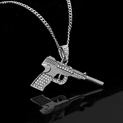 RENYZ.ZKHN Gold Plated Necklace Short Pistol Small Pendant Personality Trend Gild Necklace, Small Pendant, Hip Hop Small Pendant