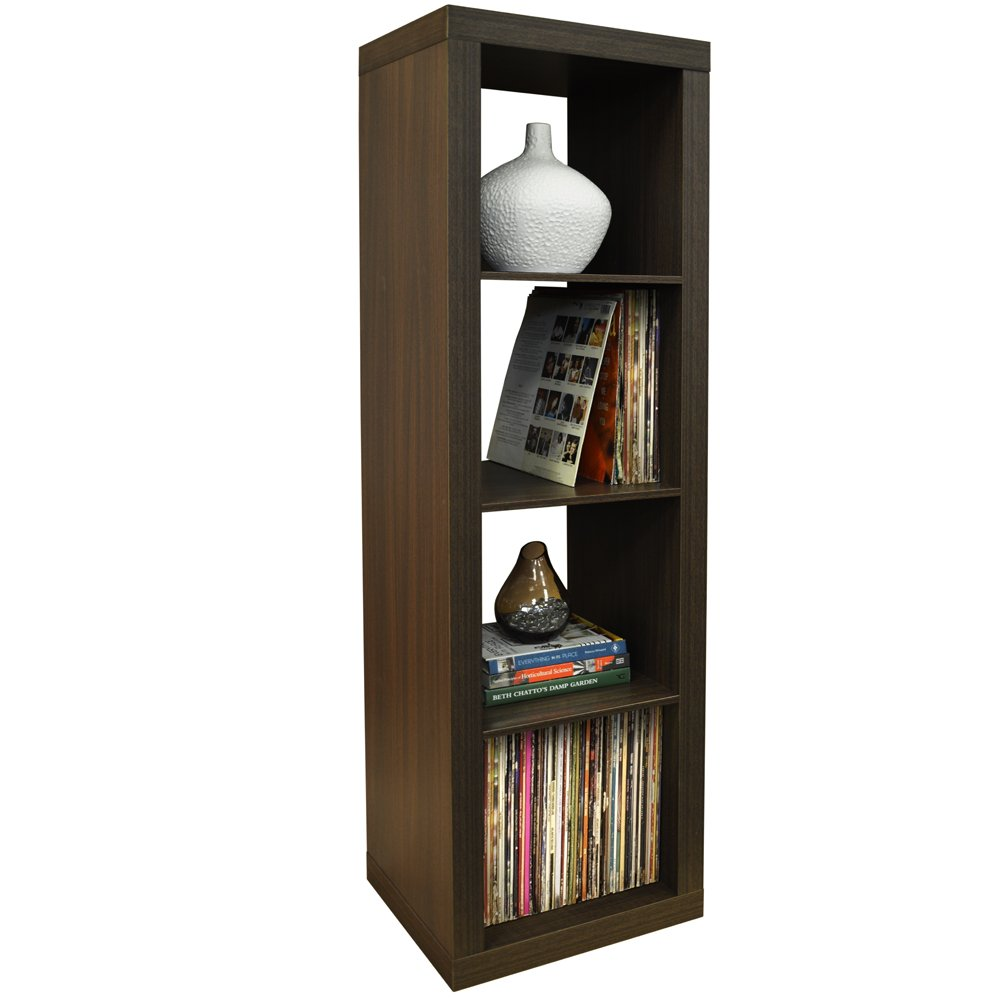 WATSONS CUBE - 4 Cubby Square Display Shelves/Vinyl LP Record Storage Tower - Walnut