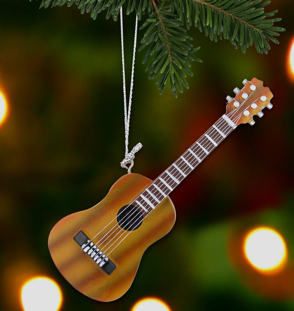 Amazon.com: Hanging Guitar Ornament Decoration - Brown Acoustic ...