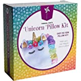 Pinwheel Crafts Unicorn Pillow Kit – Cute Colorful Fleece Knot Pillow with Stick-On Flowers and Eyelashes – No-Sew Easy…