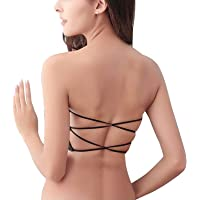 Dilency Sales Womens Padded Chest No Shoulder Lace Back Cross Breast Wrapped.(Free Size- 30-36) Removable Pads